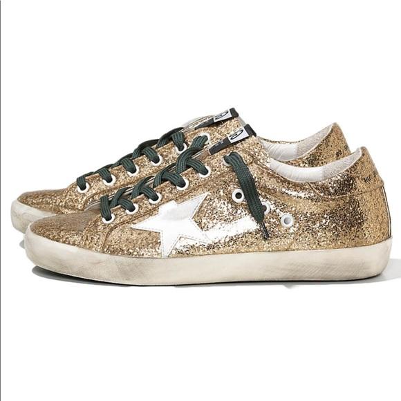 Gold Glitter Golden Goose Sneakers